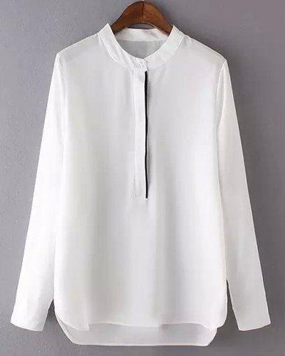 Graceful Long Sleeve Stand-Up Collar High-Low Hem Chiffon Blouse For Women