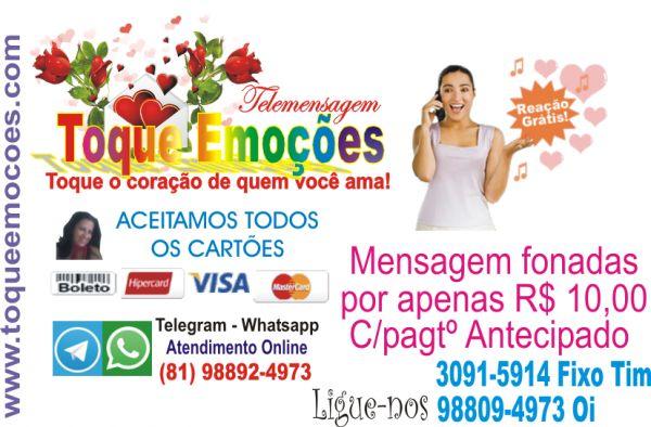 SUPER PROMOÇÃO IMPERDIVEL Compre uma mensagem fonada pra qualquer lugar do Brasil e ganhe grátis a reação PROMOÇÃO SÓ É VÁLIDA COM PAGAMENTO ANTECIPADO EM DEPOSITO OU NO CARTÃO DE CREDITOS. ENTRE EM CONTATO AGORA MESMO ONLINE PELO NOSSO...