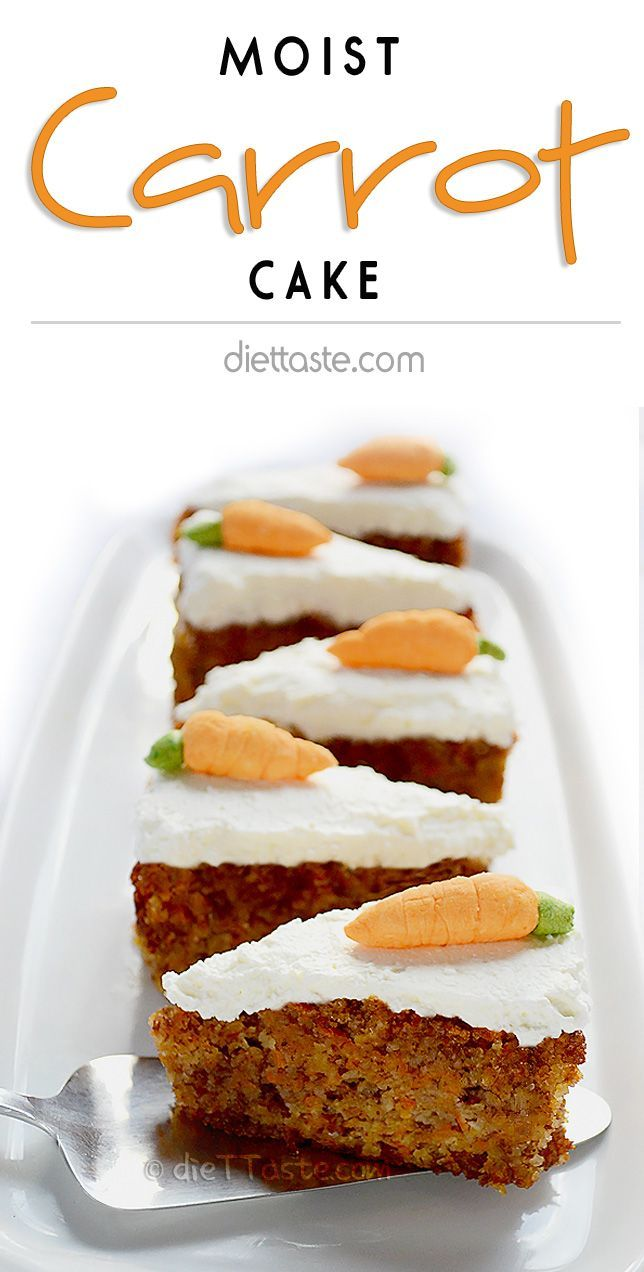 Moist Carrot Cake with cream cheese frosting that is actually good for you - diabetic friendly, no added sugar, flourless and low in carbohydrates - diettaste.com