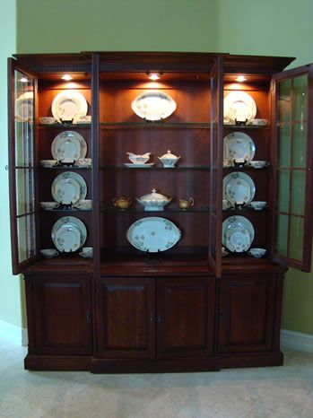 Found this helping a friend...good tutorial on how to set up your china cabinet. If you can overlook the lace and junk. But the concept is good.