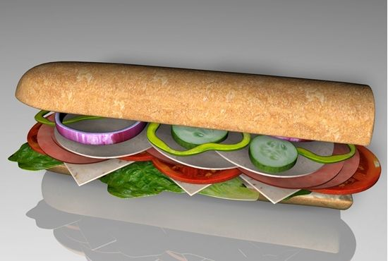 Buy a 3D submarine sandwich and toppings food model in FBX 3D format that works with most 3D modeling software.