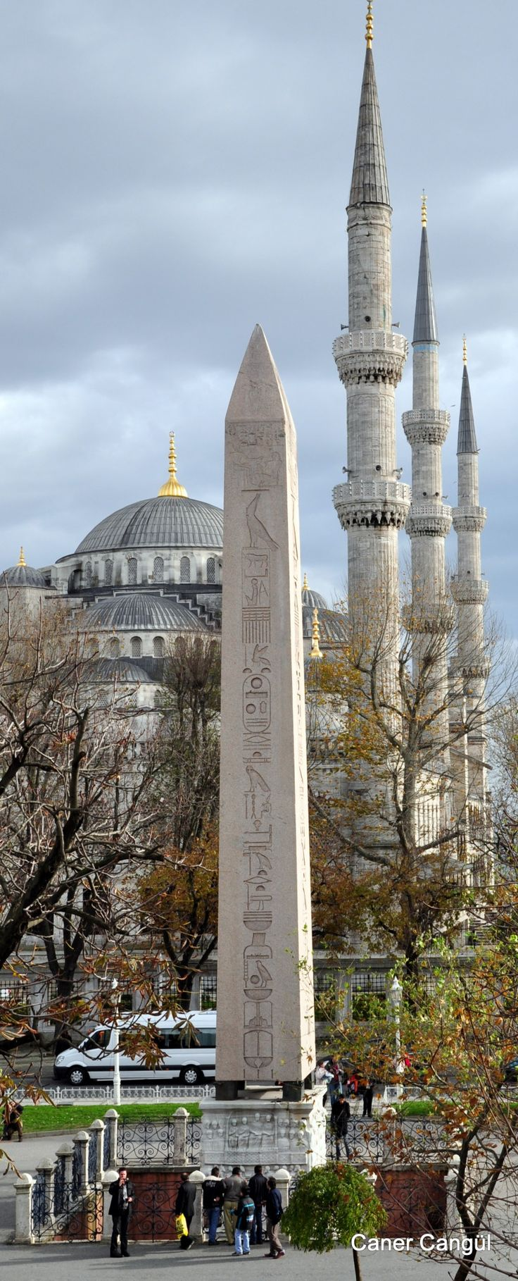 Obelisk of Theodosius and Blue a Mosque in Sultanahmet Square, Istanbul by Caner Cangül