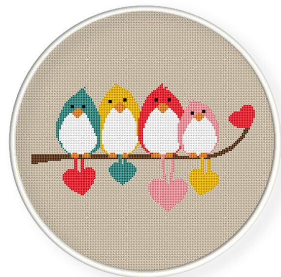 Cross stitch pattern - birds on a branch. $4.00, via Etsy: http://www.etsy.com/listing/100959650/buy-4-get-1-free-buy-6-get-2-freecross