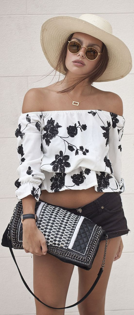 Wholesale7 White Off Shoulder Black Floral Crop Top