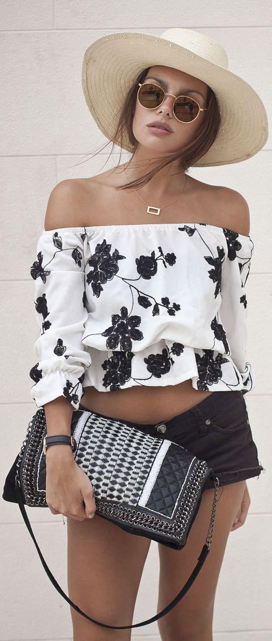 Off Shoulder Black Floral Crop Top