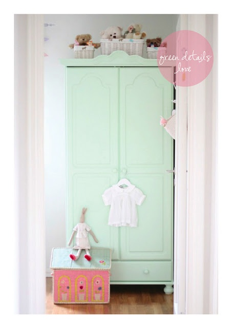 beautiful light green closet