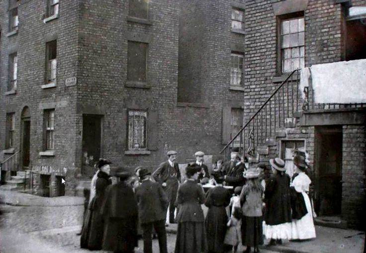 Open air service in the slums', Clive street, Liverpool 1900s