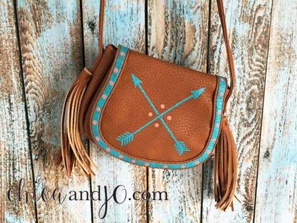 "Stencil an arrow design on a fringe purse for the ""Hunger Games"" loving tween. @target #decoartprojects"