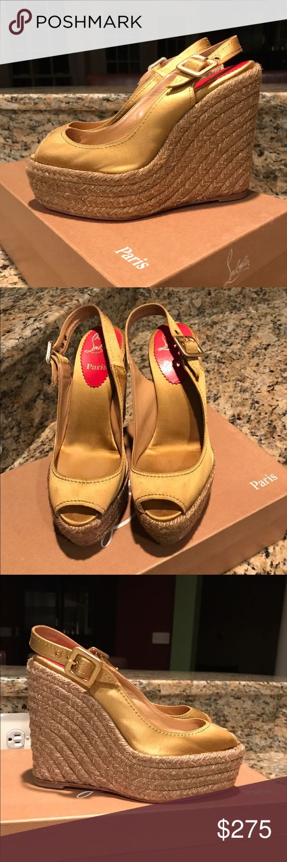 Christian Louboutin Wedges Size 37 - Christian Louboutin - Size 37 - Wedges  - Yellow  - Excellent condition - Soles professionally painted  - Comes with original box and dust bag  - Espadrilles Christian Louboutin Shoes Wedges