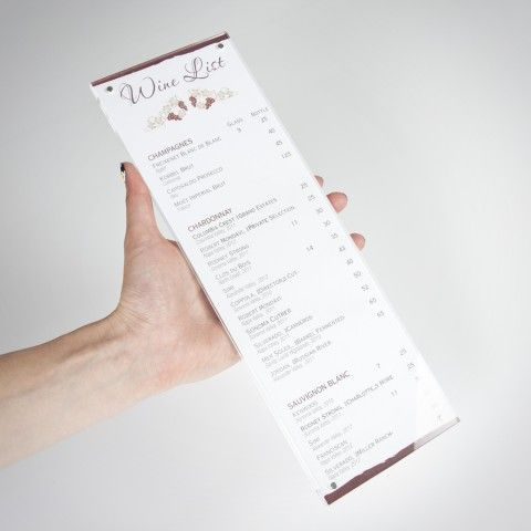 34 best images about menu holders table talkers on for Table 52 wine list