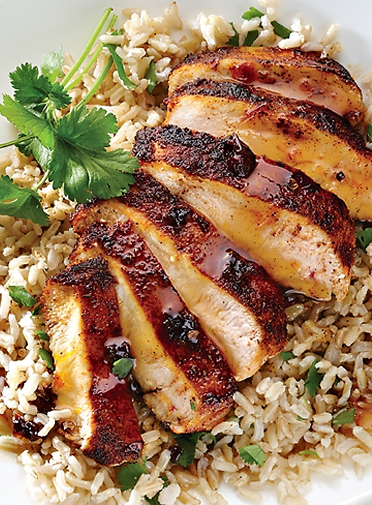 Orange Chipotle Chicken with Cilantro Rice.  Re-Pinned by The Workout Girl.  For workouts you can do anywhere, check out http://www.theworkoutgirl.com
