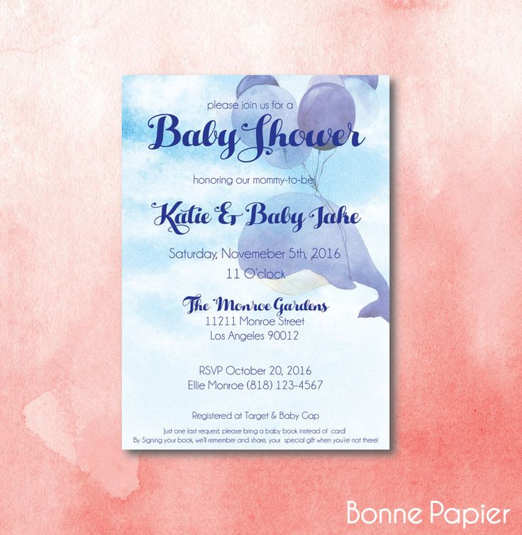 baby shower invitation wording for bringing diapers%0A Watercolor Whale  x  DIY Printable Baby Shower by BonnePapier