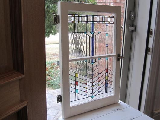 """Southwestern 2-Panel Window - This 2-Panel window is done in the Southwestern style and has 4 different types of clear glass and pops with a splash of colors.  The 30"""" x 20"""" frame is lightly distressed and has the original hardware."""