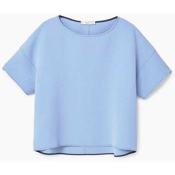 MANGO Decorative Seam Blouse ($50) ❤ liked on Polyvore featuring tops, blouses, embellished top, blue short sleeve top, drop shoulder tops, mango tops and short-sleeve blouse