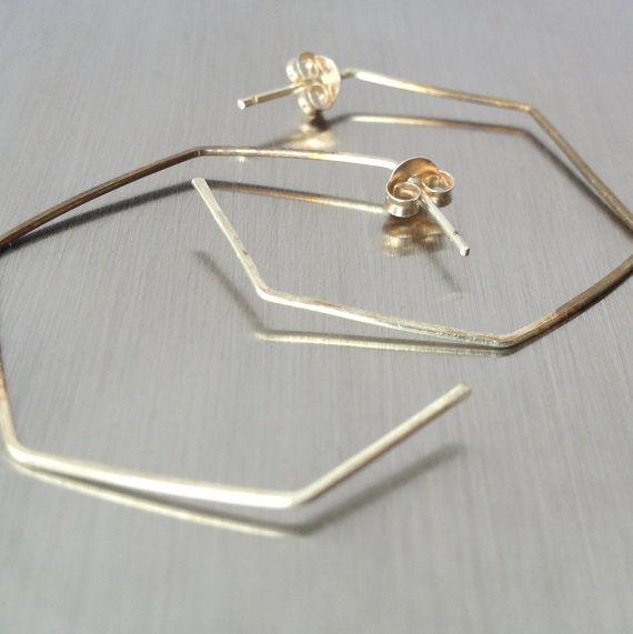 silver hexagon geometric hoop earrings - modern minimal
