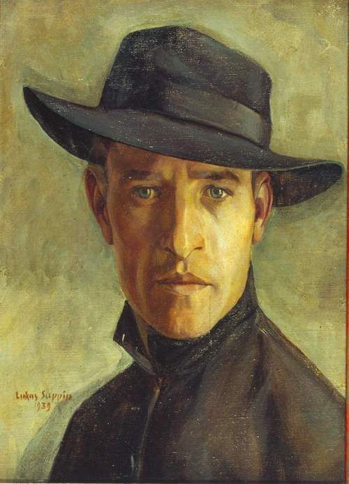 'Self-Portrait' (1939) by Austrian painter Lucas Suppin (1911-1998). via Interior with mirror