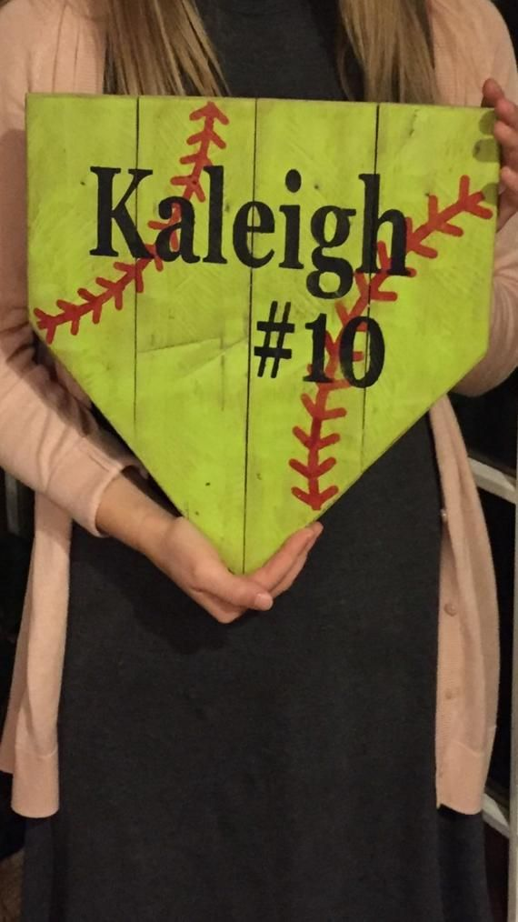 Softball sign, handmade hand painted softball sign, girls softball, homeplate sign