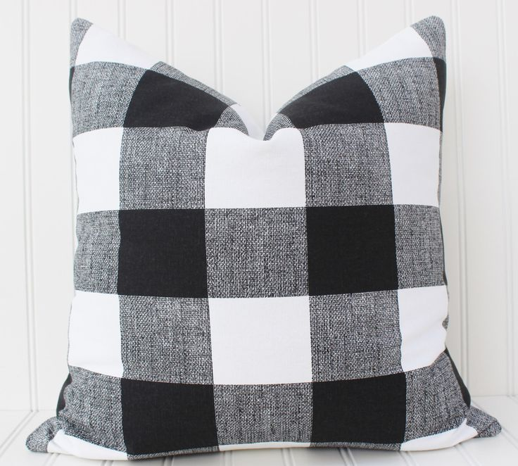 Black and White Buffalo Check Pillow Cover-Throw Pillow-Decorative Pillow-Cushion Cover - Black and White Checkered Plaid Buffalo Check by MariaClaireInteriors on Etsy https://www.etsy.com/listing/208892008/black-and-white-buffalo-check-pillow