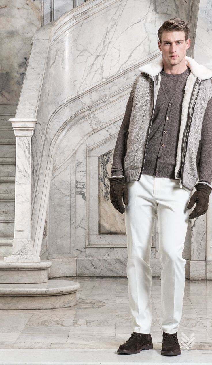 f w 15 16 malo look 6: cashmere vest with #mink collar and removable nutria fur lining, #cashmere cardigan vest, cashmere crewneck and solid #cotton pant, cashmere and #silk full plaid scarf, men's ankle boot in suede #mensfashion