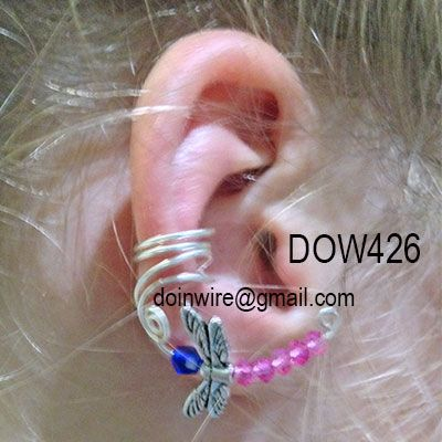 doinWire Double Scroll Ear Cuff with pink and purple crystals and dragonfly wings bead. DOW426