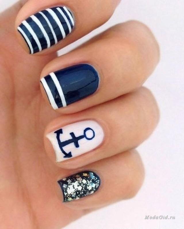 Маникюр: Идеи для летнего маникюра 2015: дизайн ногтей в морском стиле
