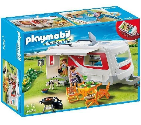 PLAYMOBIL Summer Fun - Familien-Caravan - 5434 + Summer Fun - Motorrad-Camper - 5438