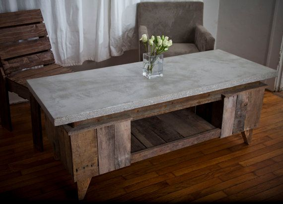 coffee table of concrete and reclaimed oak - roughsouthhome on etsy