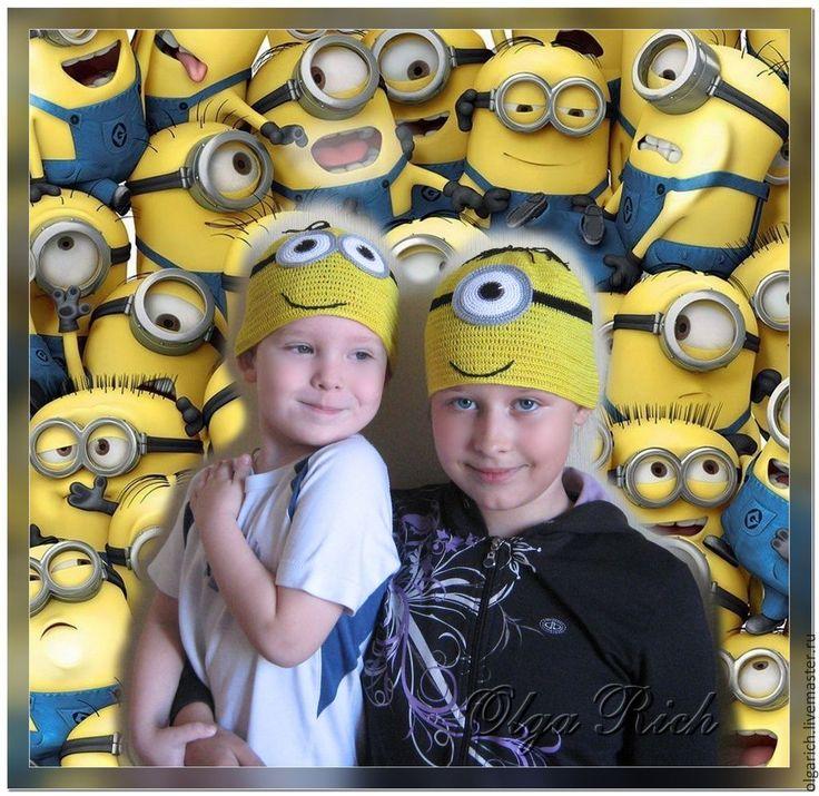 """Летние """"Миньоны"""" - желтый,миньоны,мультяшки,веселая шапка,летняя шапочка"""