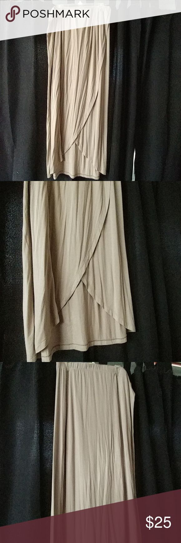 Tan maxi skirt Tan maxi skirt. Only worn once. Cute slit in the front Apt. 9 Dresses Maxi