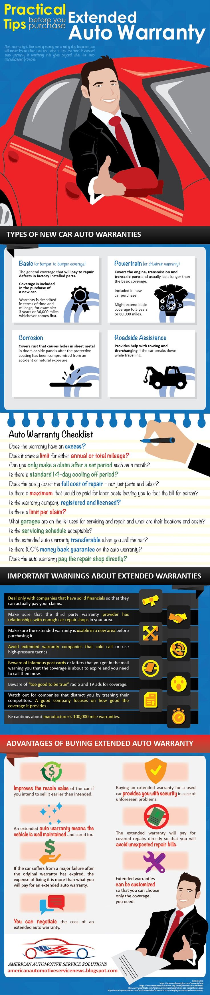 Practical Tips before you purchase Extended Auto Warranty - Sometimes, it is a good idea to buy an extended auto warranty because it is inevitable that the car will break down. When the time comes that the car needs repair, you will not be footing the bill for the unfortunate situation. Auto warranty is like saving money for a rainy day because you will never know when you are going to use the fund. Extended auto warranty is warranty that goes beyond what the auto manufacturer provides.