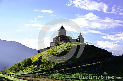 Beautiful church near to Mount Kazbek, Georgia.