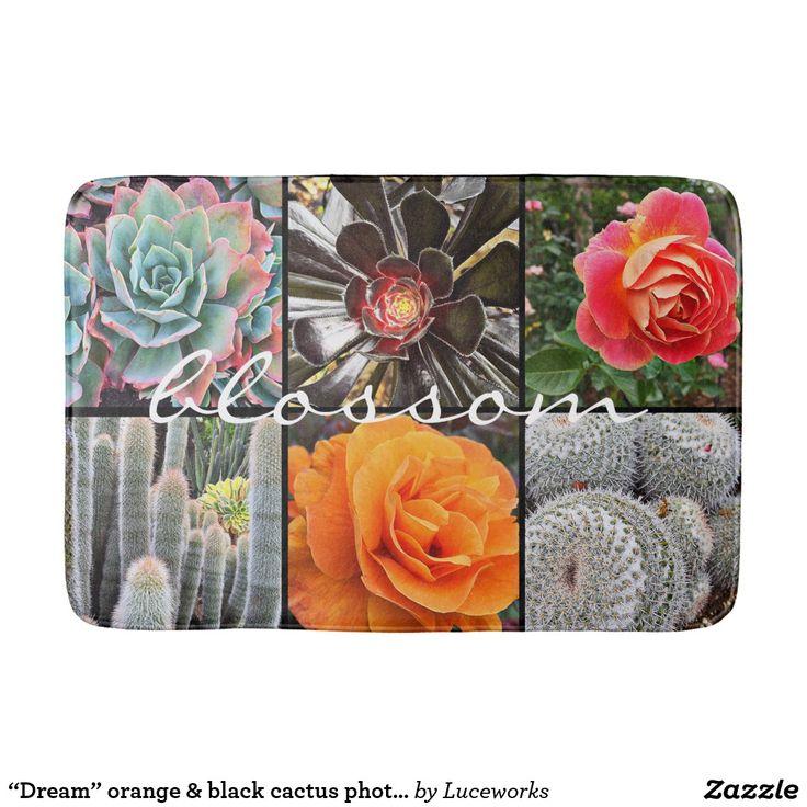"""Dream"" orange & black cactus photography bath mat"