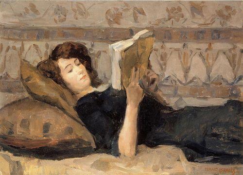 Isaac Israels, Girl Reading on Sofa, 1920