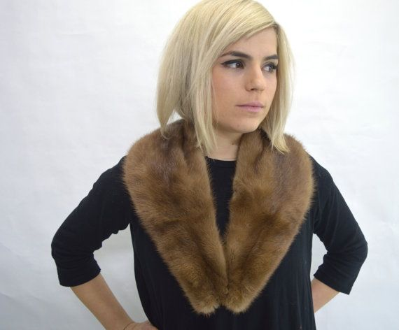 Real demi-buff/brown mink fur collar. Genuine full pelt. by BeFur