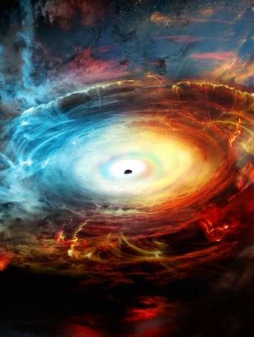 Supermassive blackhole hides inside its own exhaust.  Artist's impression of the black hole at the center of Messier 77.