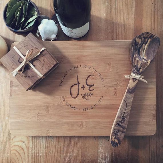 The complete Wood Be Mine gift set! A beautiful, personalized, solid bamboo cutting board, 4 coasters, and matching olive wood kitchen spoon / spatula