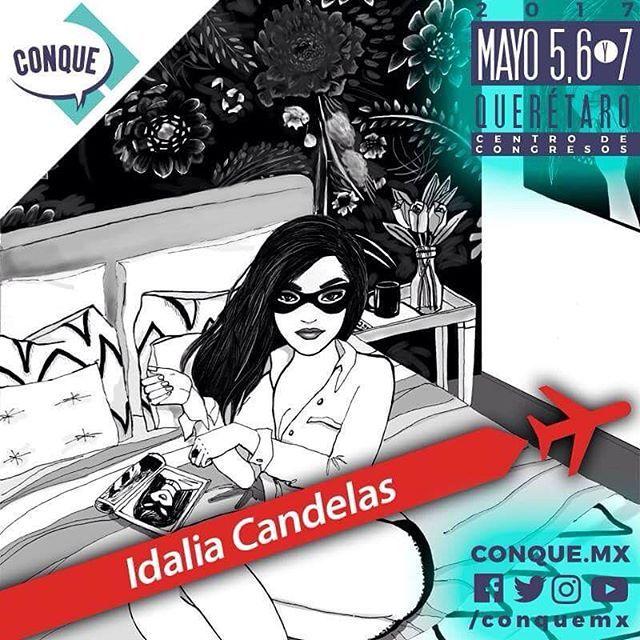 """Hola Querétaro! Estoy muy feliz de confirmar mi participación en @conquemx el evento de comics y entretenimiento que se llevará a cabo en México, donde participaré en una conferencia, dibujaré en vivo y estará mi mesa los tres días con venta de el libro """"A solas"""", prints y otras sorpresas que estoy preparando en exclusiva para el evento. #idaliacandelas #conquemx #asolas"""