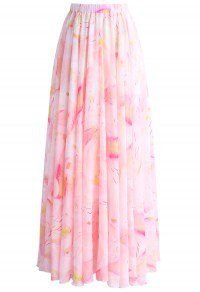 Luscious Lily Watercolor Chiffon Maxi Skirt in Pink