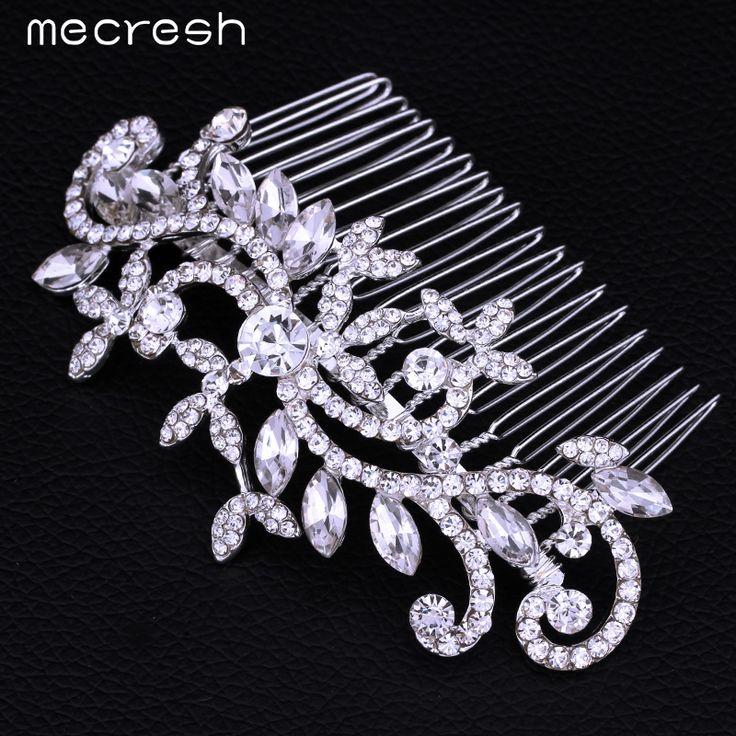 Mecresh Leaf Crystal Bridal Wedding Jewelry Hair Accessories Hair Combs Crown Tiara  Hot Selling FS001