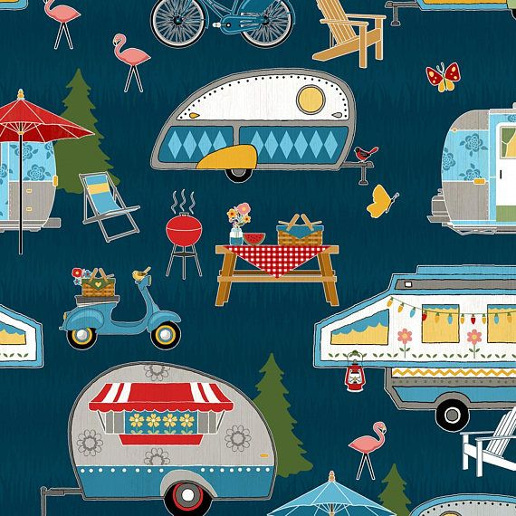 Campers On Blue Background Cotton Fabric By The Yard Campers Camping Fabric Camper Fabric Wilmington Prints
