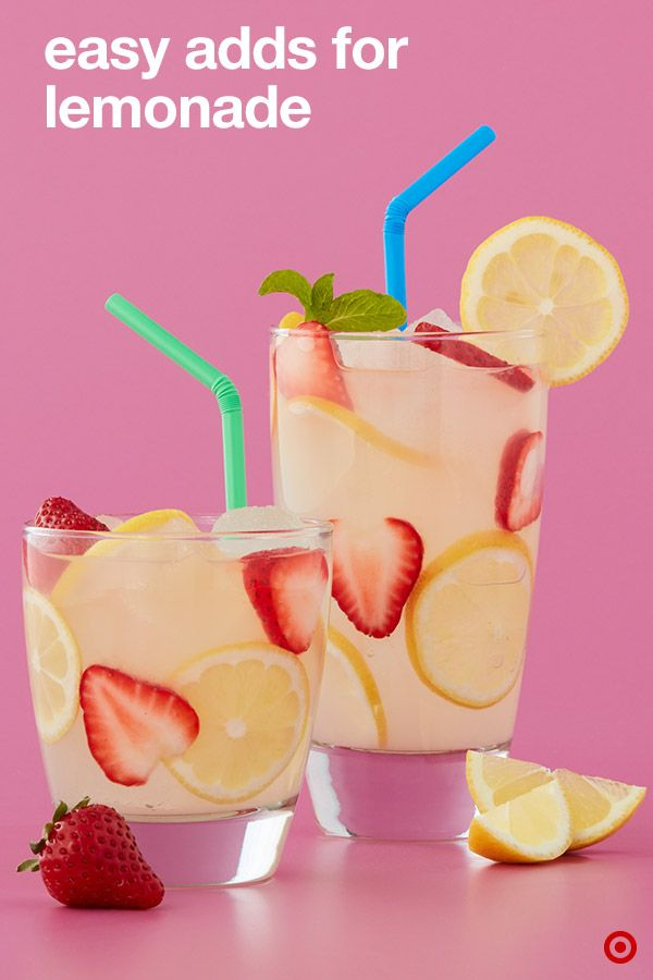 When life gives you lemonade, take it to the next level. One easy idea to put a sweet spin on a glass of Simply Lemonade: Add fresh slices of strawberries and lemons to the mix. It's a quick fix that adds flavor and appeal. Whether you're having an impromptu pool hangout, backyard banger or full-on lemonade stand shenanigans with the kiddos, these drink ideas are a sure way to keep cool.