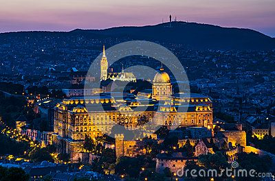 Twilight view with Buda Castle built on Castle Hill in 1265AD, famous for medieval baroque. Budapest, Hungary.