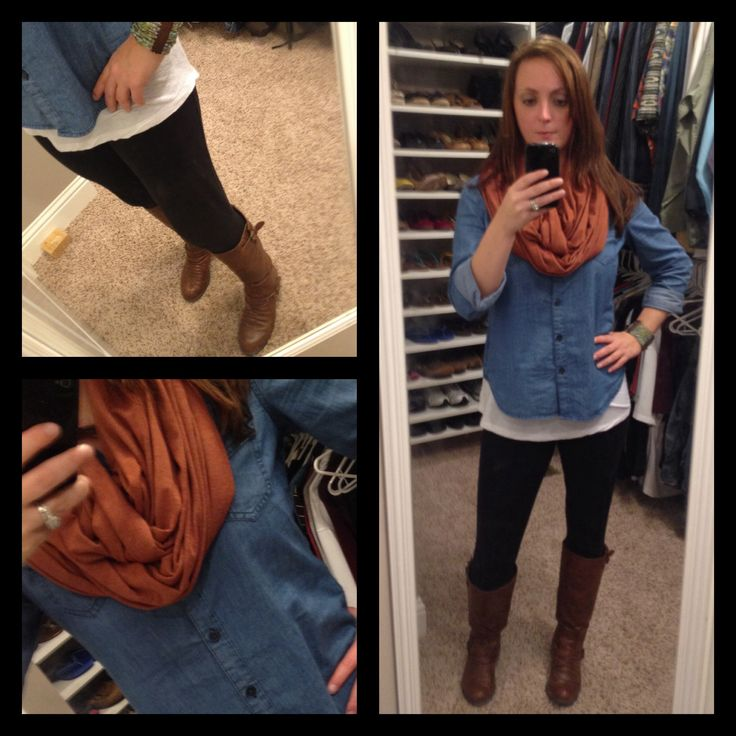 Chambray shirt black leggings brown boots scarf | What I wore | Pinterest | Brown boots ...