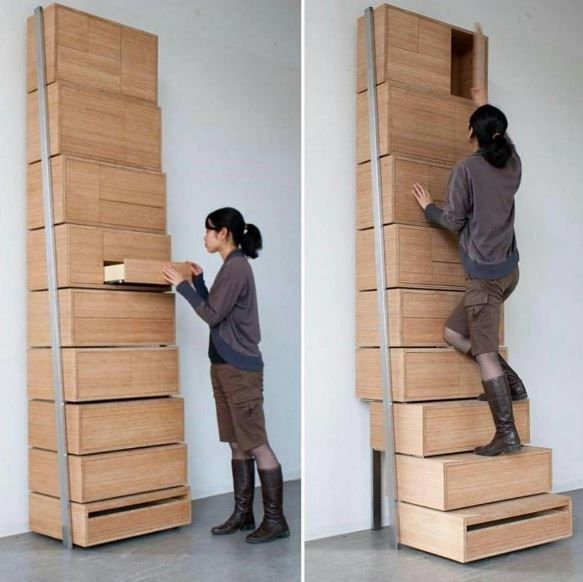 muebles multifuncionales. Cajonera escalera #mueble #multifuncion #furniture Danny Kuo