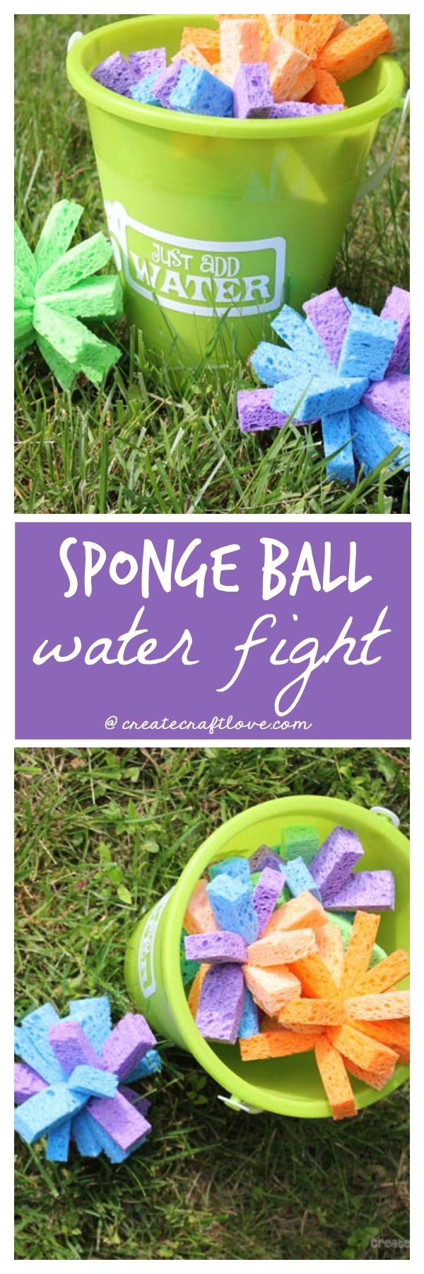 This Sponge Ball Water Fight will keep the kids entertained all summer! via createcraftlove.com