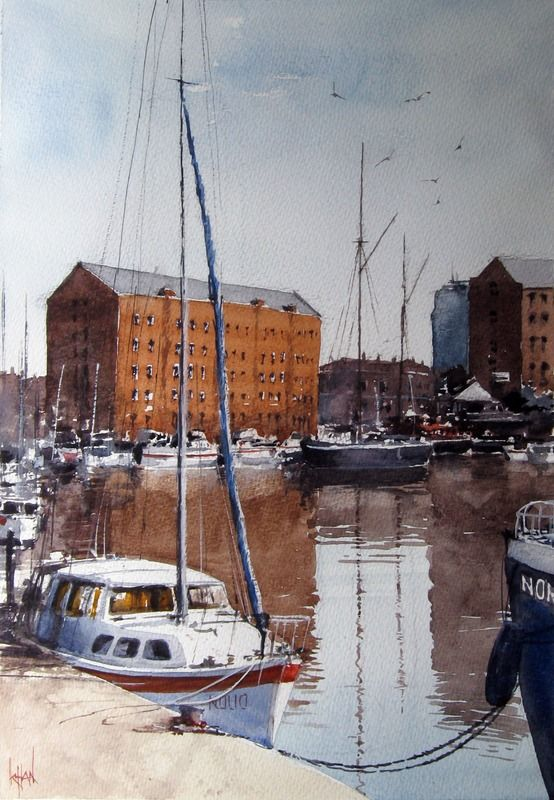 """""""Harbourside"""" by S Khan. #art #artwork #painting #seascape #seascapepainting #harbour #marine #boats #sailboat"""