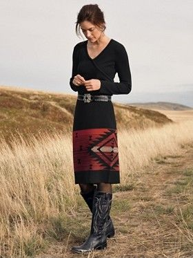 Native American sweater wrap dress: Gorgeous for fall. We love this modern cowgirl look!