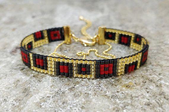 16K gold plated finish/ Black & red loom beaded bracelet/ Bead