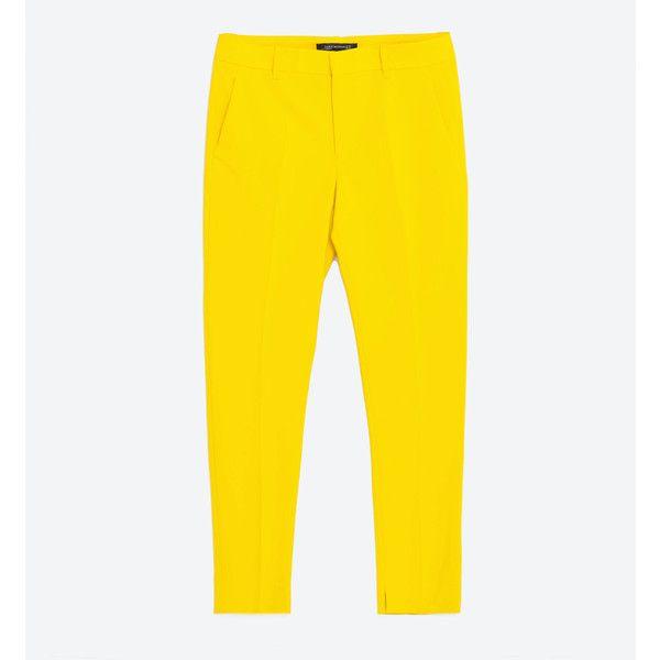 PANTALÓN CHINO - Ver todo-PANTALONES-MUJER | ZARA España ($34) ❤ liked on Polyvore featuring pants, chino trousers, yellow chino pants, yellow pants and chino pants