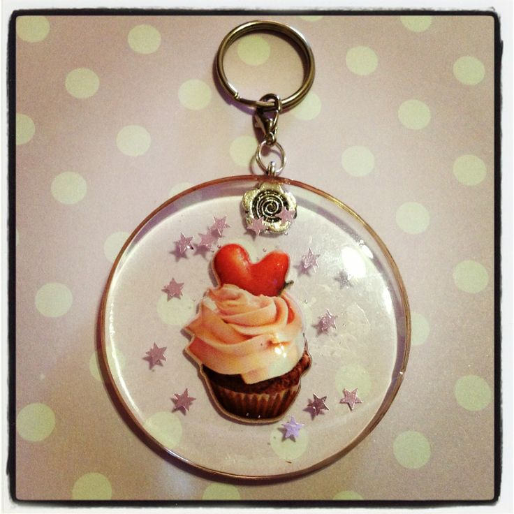A heart cupcake resin keychain to hang all your keys from! Little light purple stars are also embedded in the resin, and this keychain is approx. 5.5cm in diamater, and 0.5cm thick.  *** Please remember that this is a hand crafted item, and therefore will not always look exactly as pictured as ...